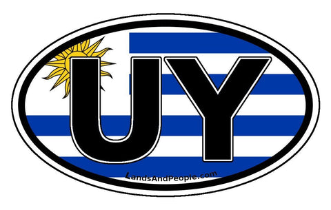 UY Uruguay Flag Car Bumper Sticker Decal