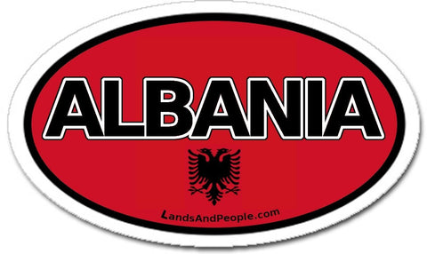 Albania Albanian Flag Eagle Car Bumper Sticker Decal Oval - Lands & People