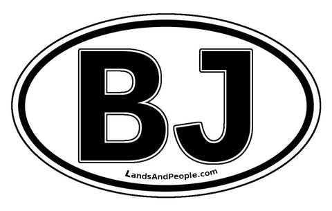 BJ Benin Sticker Decal Oval Black and White