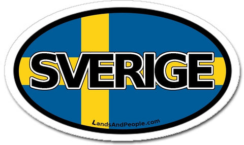 Sverige Sweden Flag Sticker Decal Oval