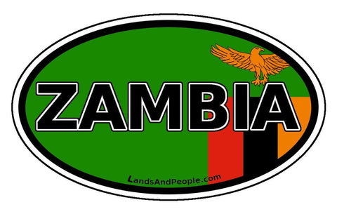 Zambia Flag Sticker Oval