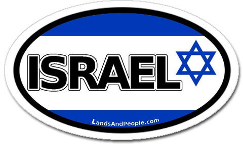 Israel Flag Car Sticker Decal Oval