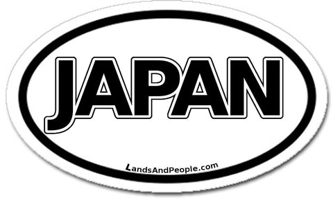 Japan Car Sticker Decal Oval Black and White