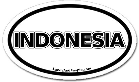 Indonesia Sticker Oval Black and White