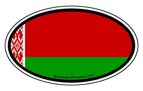 Belarus Belarusian Flag Car Bumper Sticker Decal Oval