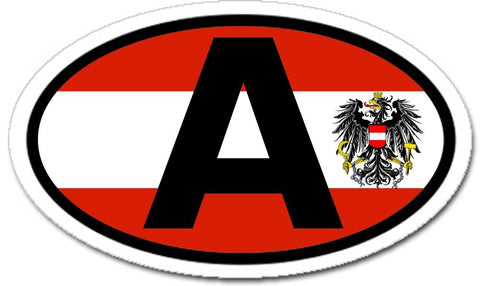 A Austria Flag Austrian Eagle Car Bumper Sticker Oval