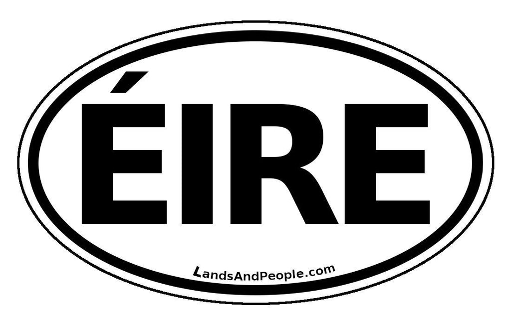 éire ireland car sticker decal oval black and white