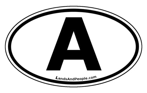 A Austria Car Bumper Sticker Oval Black and White