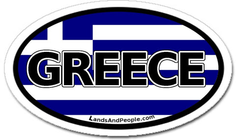 Greece Flag Sticker Oval