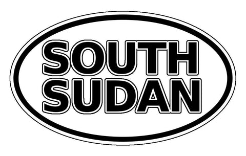 South Sudan Car Sticker Oval Black and White