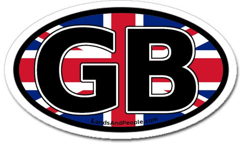 Great Britain GB and British Flag Car Bumper Sticker Oval