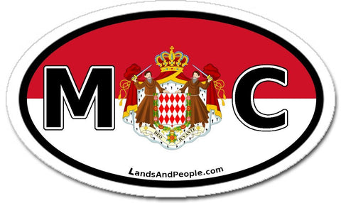 MC Monaco Flag and Coat of Arms Sticker Oval