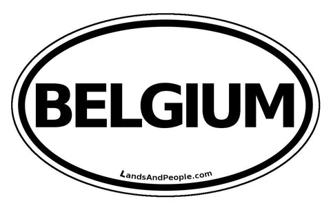 B Belgium Car Bumper Sticker Decal Oval Black and White - Lands & People