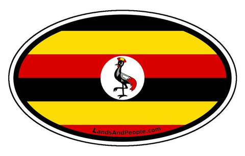 Uganda Flag Sticker Decal Oval