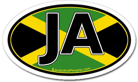 JA Jamaica Flag Sticker Decal