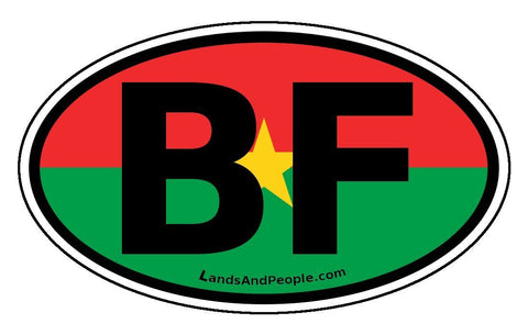 BF Burkina Faso Flag Sticker Oval