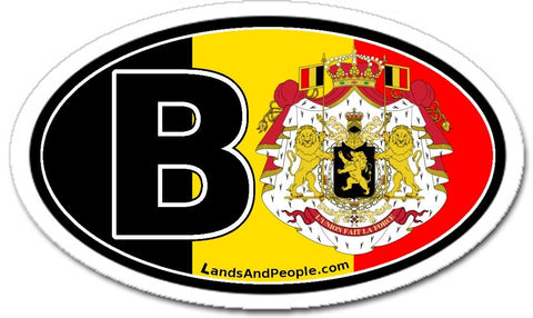 B Belgium Flag Car Bumper Sticker Decal Oval - Lands & People