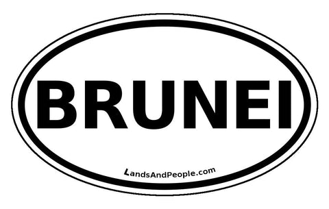 Brunei Sticker Oval Black and White