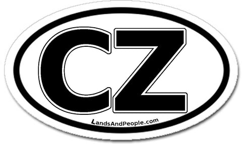 CZ Czech Republic Sticker Decal Oval Black and White