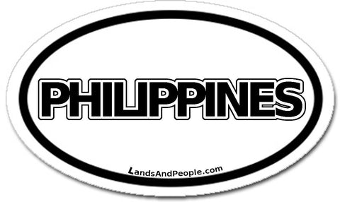 Philippines Sticker Oval Black and White