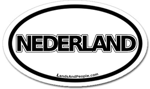 Nederland Netherlands Dutch Holland Sticker Oval Black and White