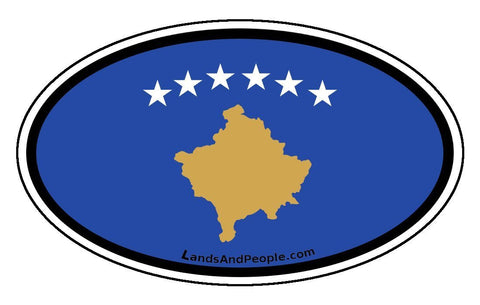 Kosovo Flag Sticker Oval