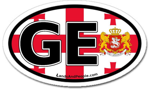 GE Georgia Flag Sticker Oval