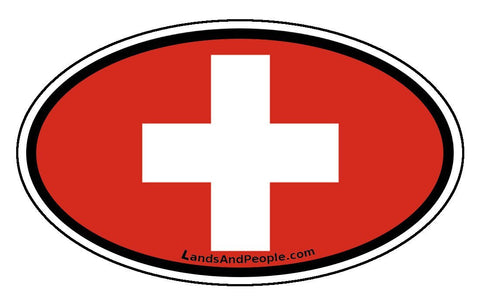 Switzerland Swiss Flag Sticker Oval