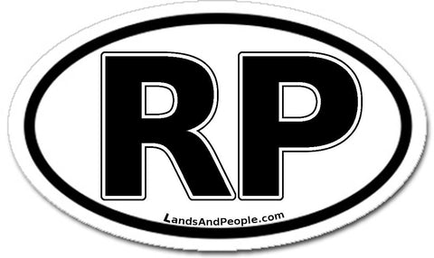 RP Republic of the Philippines Sticker Oval Black and White