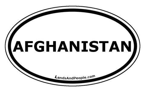 Afghanistan Sticker Oval Black and White