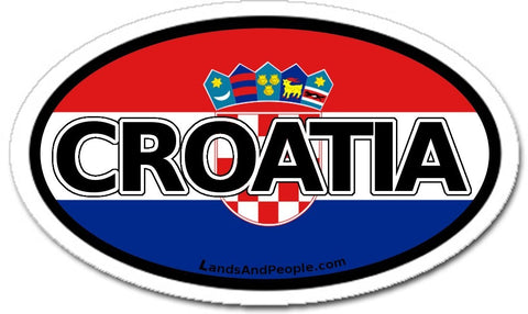 Croatia Flag Car Bumper Sticker Decal Oval