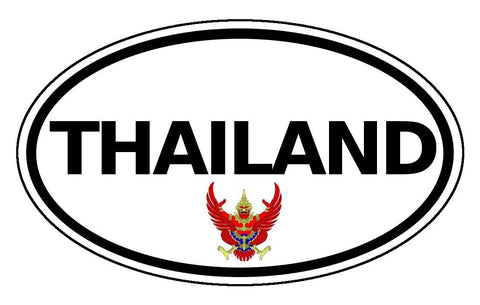 Thailand Sticker Oval Black and White