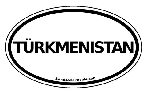 Türkmenistan Turkmenistan Sticker Oval Black and White