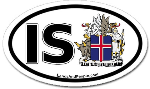 IS Iceland Coat of Arms Sticker Oval