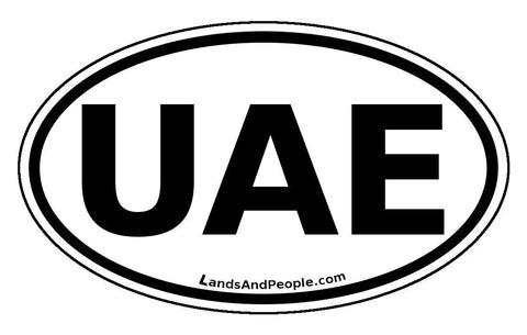 UAE United Arab Emirates Sticker Oval Black and White