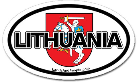 Lithuania and Coat of Arms Vytis Sticker Oval
