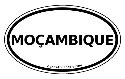 Moçambique Mozambique Sticker Oval Black and White