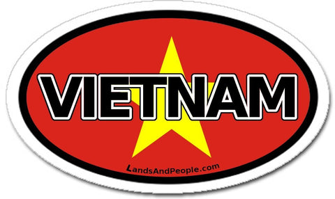 Vietnam Flag Sticker Oval