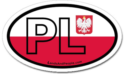 PL Poland Polish Flag Sticker Oval