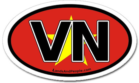 VN Vietnam Flag Sticker Oval
