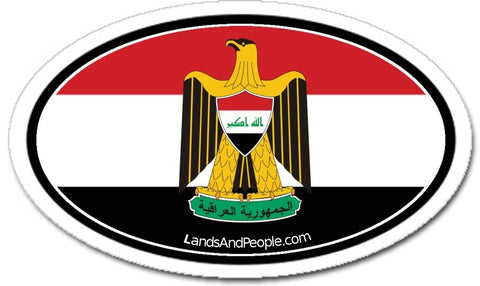 Iraq Flag and Eagle Coat of Arms Sticker Oval