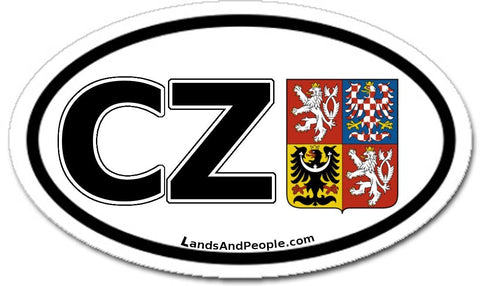 CZ Czech Republic Sticker Coat of Arms Decal Oval Black and White