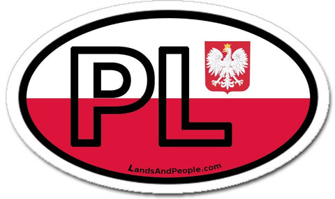 PL Poland Polish Eagle Sticker Oval