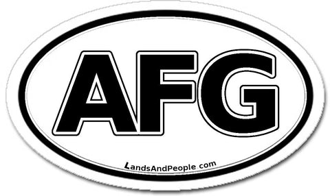 AFG Afghanistan Sticker Oval Black and White