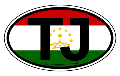 TJ Tajikistan Flag Sticker Oval