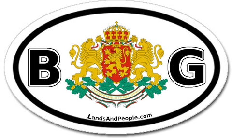 BG Bulgaria Coat of Arms Car Bumper Sticker Decal Oval Black and White