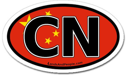 CN China Chinese Flag Car Sticker Oval