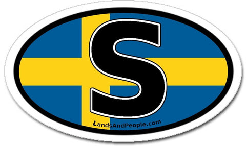 S Sweden Flag Sticker Decal Oval