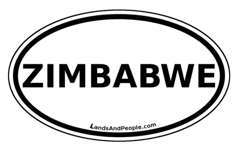 Zimbabwe Sticker Oval Black and White