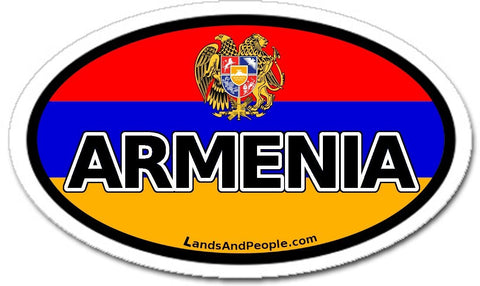 Armenia and Armenian Flag Car Bumper Sticker Decal Oval - Lands & People
